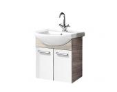 Waschbeckenunterschrank A-Vero - Eiche Sonoma/Weiß Hochglanz, Fackelmann