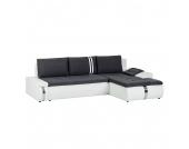 Ecksofa Huelva (mit Schlaffunktion) - Kunstleder/Webstoff - Longchair/Ottomane davorstehend rechts - Weiß / Grau, roomscape