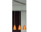 EEK A++, Pendelleuchte Detroit - 3flammig - Silber/Glas orange, Busch Leuchten