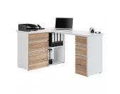 Eck-Schreibtisch Samiera - Icy Weiß/Sonoma Eiche Dekor, Office Collection