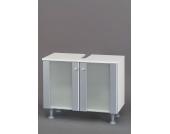 Waschtischunterschrank mit Glastüren Alufarben
