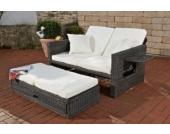 flexibles Polyrattan 2er Sofa ANCONA, ALU-Gestell, ausziehbare Fußbank, inkl. Auflagen, 7 Farben + 3 Rattan Stärken wählbar