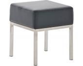 Edelstahl Sitz-Hocker LAMEGA 40 x 40 cm, dickes Polster, Gestell Edelstahl gebürstet, Sitzhöhe 46 cm (aus bis zu 11 Farben wählen)