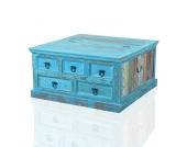 Holztisch Truhe in Blau Shabby Chic
