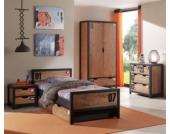 Vipack Set Alex best. aus Nachtkonsole, Einzelbett 90x200, Bettschublade, Kleiderschrank 2-trg. und Kommode Kiefer gebürstet