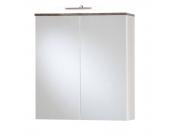 EEK A+, Malaga Spiegelschrank (mit Beleuchtung) - Weiß/Wenge Dekor, Giessbach