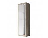 Garderobenschrank Leonso - Eiche Sanremo Dekor/Weiß - mit Spiegel, Top Square