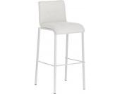 moderner Barhocker AVOLA mit weißem Gestell und Stoffbezug, Sitzhöhe: 78 cm, stapelbar, aus bis zu 7 Bezugsfarben wählen