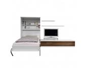 Schrankbett-Kombination Majano - 160 x 205 cm - Bonellfederkernmatratze - Weiß / Nussbaum Dekor, Modoform