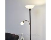 Rostfarbener LED-Deckenfluter Elaina mit Leselampe