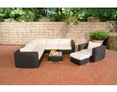 Polyrattan Gartengarnitur ARIANO schwarz, aus 5 mm Rund-Rattan, mit Aluminiumgestell (5er Sofa + Sessel + Hocker + Tisch + 10 cm dicke Polster + Kissen)