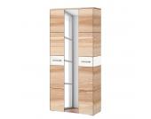 Garderobenschrank Giaveno II - Kernesche / Glas Weiß - Metall Matt, Wittenbreder