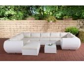 27 teiliges Set: Polyrattan Gartengarnitur GIBRALTAR, mit Aluminiumgestell (2er Sofa + Ecksofa + Mittelsofa + Fußhocker + Tisch 82 x 57cm + 10 cm dicke Polster + Kissen)