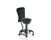 Bürostuhl / Rollhocker SWOPPER WORK CLASSIC-LEDER schwarz mit Lehne u. SPEED-Rollen