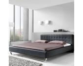 Leder Doppelbett in Schwarz Kunstleder