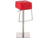 Edelstahl Barhocker MANSFIELD, aus bis zu 7 Polsterfarben wählen, Sitzhöhe 68 - 94 cm, drehbar, mit Fußstütze